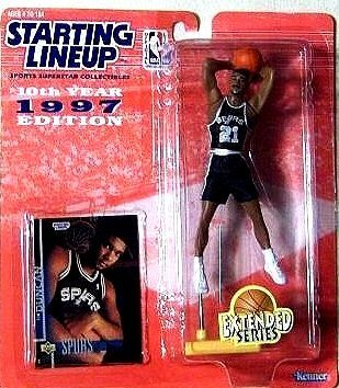Tim Duncan Action Figure, in San Antonio Spurs Uniform - 1997 Starting Lineup 10th Year Edition Extended Series NBA Basketball -