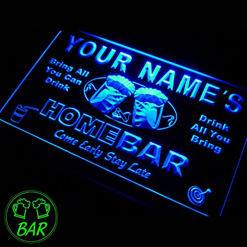 p-tm-b Name Personalized Custom Home Bar Beer Neon Light Sign Blue 16