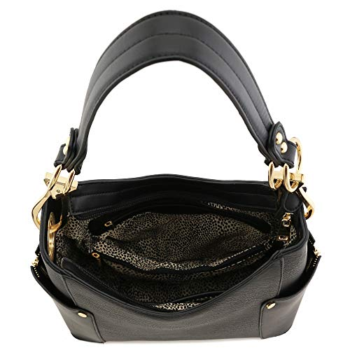 5ad735e2cb Two-Tone Hobo Sholuder Bag with Big Snap Hook Hardware Dark Silver ...