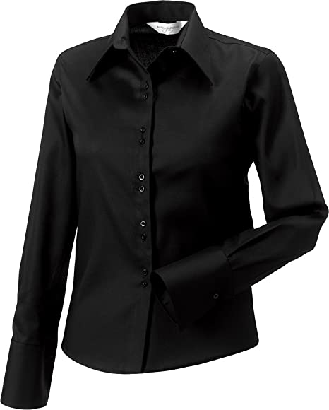 a06ad3d2f Russell Collection Ladies Long Sleeve Ultimate Non-Iron Shirt Stylish  Workwear: Amazon.co.uk: Clothing
