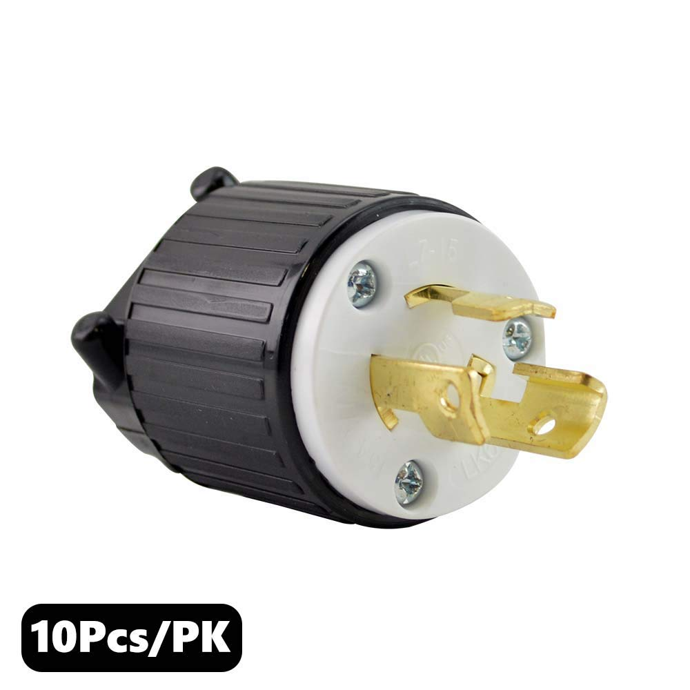 Superior Electric YGA031 Twist Lock Electrical Plug, 3P 15A 277V - NEMA L7-15P (10 Pack)