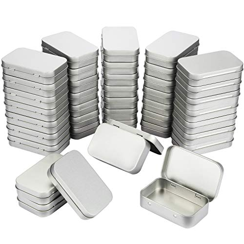 40 Pack 3.75 by 2.45 by 0.8 Inch Silver Metal Rectangular Empty Hinged Tins Box Containers with Lids Mini Portable Box Small Storage Kit, Home Organizer (40 Pack)]()