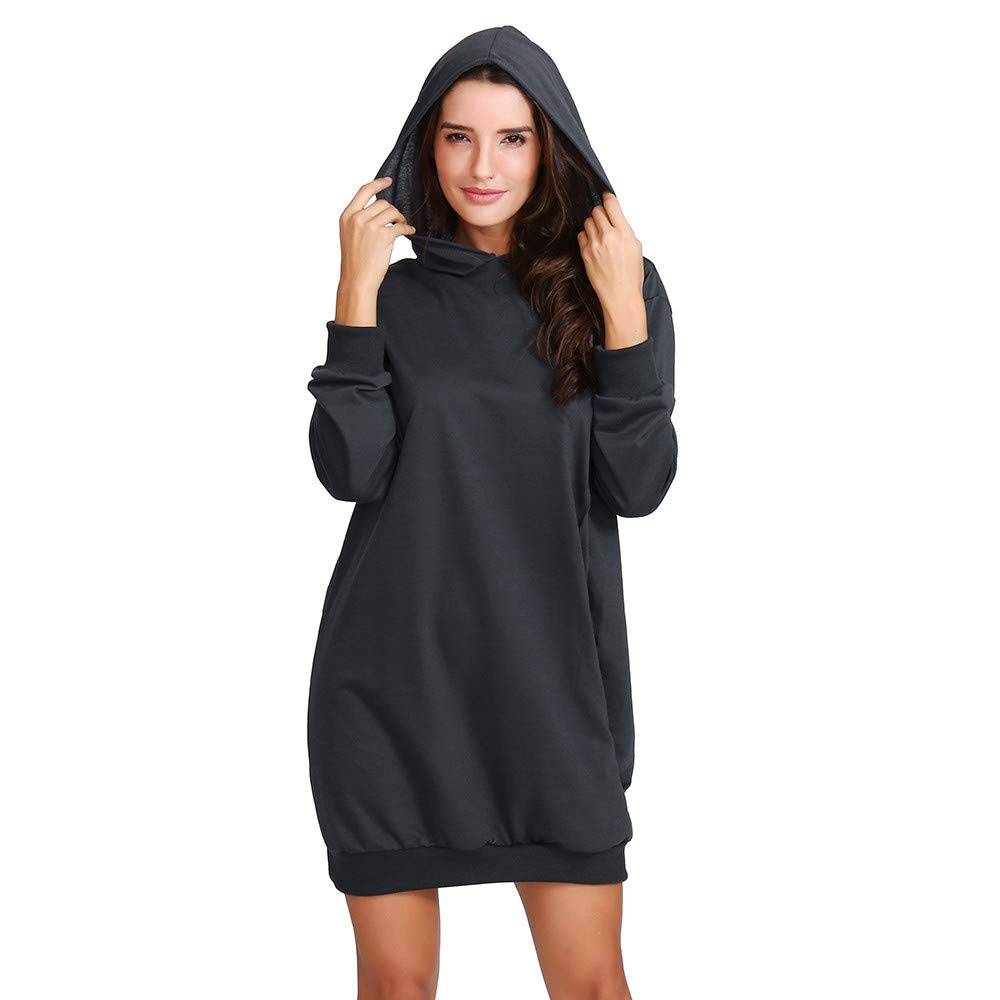 Photno Womens Hoodie Dress Hooded Sweatshirts Pullover Tops Shirt Blouse Outwear Pockets