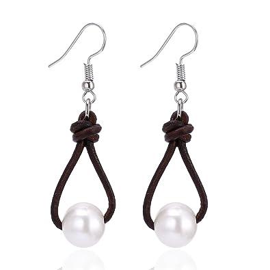 439771df208be White Pearl Dangle Earrings on Genuine Leather Cord Hook Drop Bohemian  Jewelry for Women