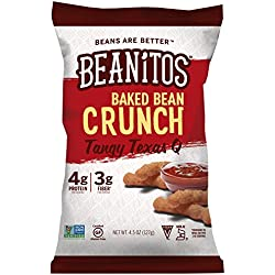 Beanitos Baked Crunch Tangy Texas 'Q, The Healthy, High Protein, Gluten free, and Low Carb Tortilla Chip Snack, 4.5 Ounce A Lean Bean Protein Machine for Superfood Snacking At Its Best, Pack of 6