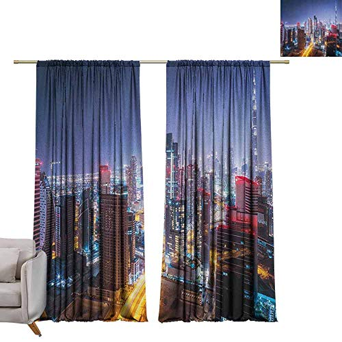 Bedroom Curtains City,Nighttime at Dubai Vivid Display United Arab Emirates Tourist Attraction Travel Theme, Multicolor W84 x L108 Printed Window Curtains for Kitchen (Dubai Contemporary Furniture Garden)