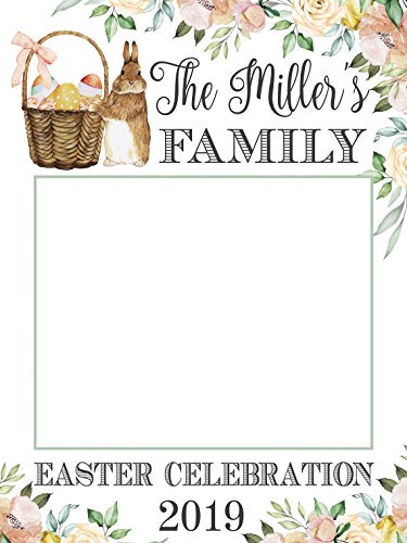 Floral Easter Photo booth Frame, Happy Easter Egg