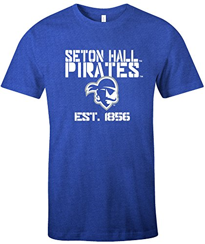 NCAA Seton Hall Pirates Est Stack Jersey Short Sleeve T-Shirt, Royal,XX-Large