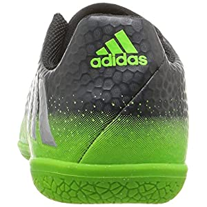 Adidas Performance Kids' Messi 16.3 Indoor Soccer Shoe (Little Kid/Big Kid), Dark Grey/Metallic Silver/Neon Green, 5 M US Big Kid