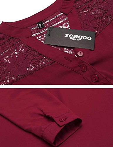 Zeagoo Red Para Lace Camisas Wine Style Mujer wgSAOTwq