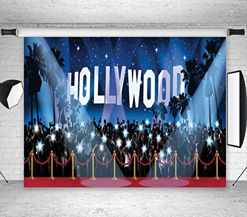 LB Hollywood Backdrops for Photography 7x5ft Vinyl Red Carpet Background for Birthday Party Event Dress-up and Awards Night Ceremony Portraits Photo Booth Background