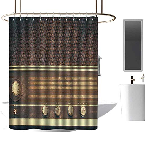 (Shower Curtains Designer Vintage,Old Antique Retro 60s Style Radio Music Player Loudspeakers Buttons Image,Brown and White,W36 x L72,Shower Curtain for Small Shower stall)