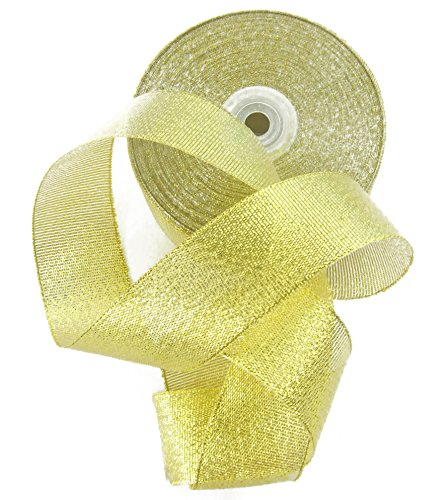 Glitter Ribbon 1.5 inch. Huge 50 Yard Gift Ribbon Roll. Metallic Golden. By (Huge Ribbon)