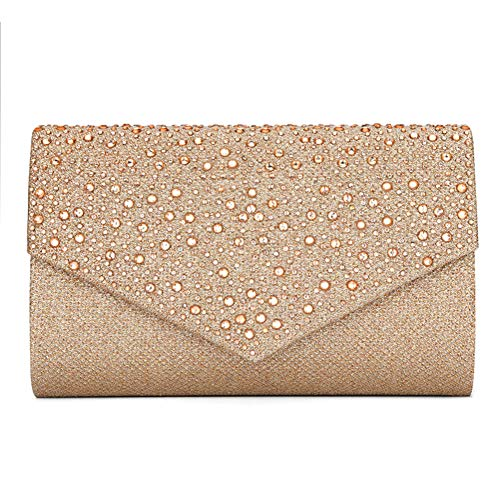 (CurvChic Women Evening Bag Clutch Rhinestone Envelope Party Handbag Bridal Prom Purse (Champagne) )