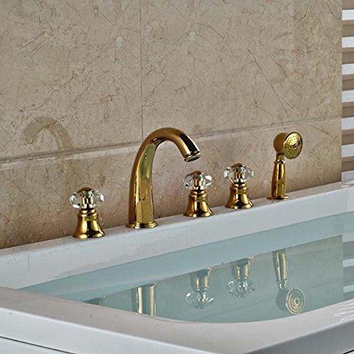 CZOOR Multi-Style Golden Brass verbreitet 5 pcs Bad Badewanne Armatur drei Griffe Badewanne Armatur, Gelb