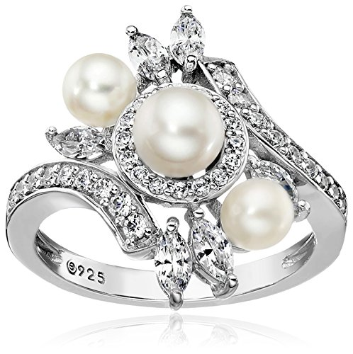 Platinum-Plated Sterling Silver Cubic Zirconia Bypass Freshwater Cultured Pearl Ring, Size 9
