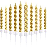 Toys : Blulu 50 Pieces Spiral Cake Candles in Holders Metallic Cake Cupcake Candles Short Thin Cake Candles for Birthday Wedding Party Cake Decorations (Gold)