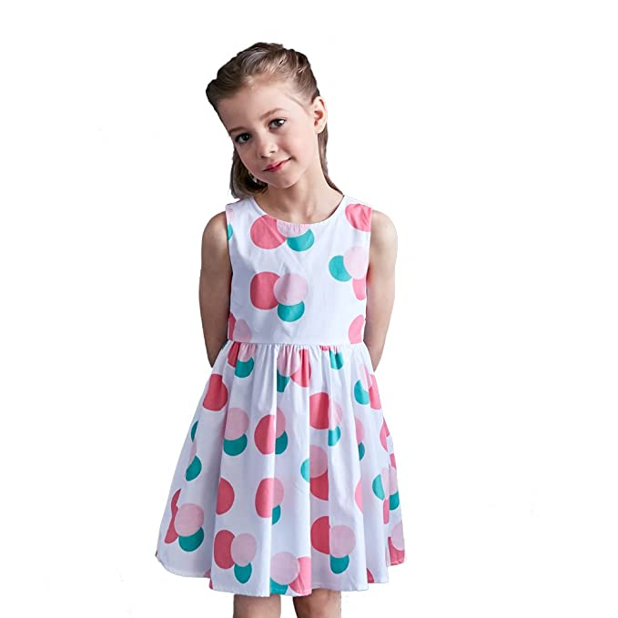 cc31dfa27 Amazon.com  Little Girls Vintage Boat Neck Sleeveless Swing Party ...