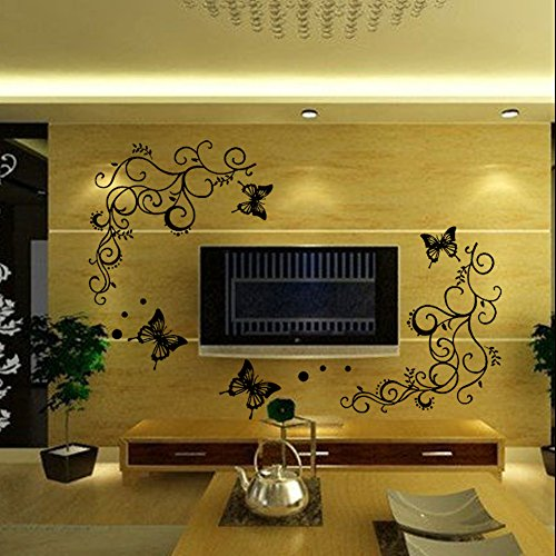 EMIRACLEZE Christmas Gift Beautiful Vivid Tree Leaves Big Butterfly Removable Mural Wall Stickers Decal for Home Television Background (Sexy Tv Stars)