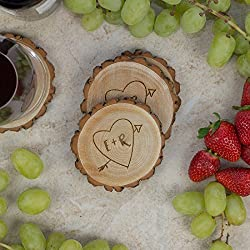Personalized Rustic Tree Slice Coaster Set - Engraved Wood - Initials in Heart with Arrow