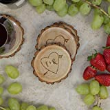 Personalized Rustic Tree Slice Coaster Set – Engraved Wood – Initials in Heart with Arrow Review