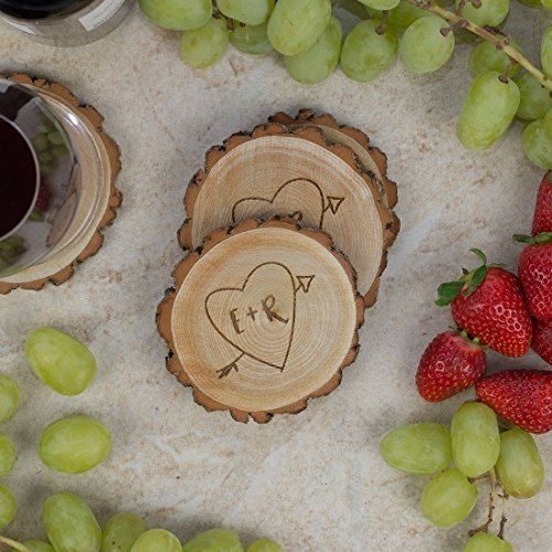 Engraved Personalized Coaster (Personalized Rustic Tree Slice Coaster Set - Engraved Wood - Initials in Heart with Arrow)