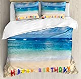 Birthday Duvet Cover Set King Size by Ambesonne, Happy Birthday Sign on the Tropical Beach in Hawaii Exotic Sweet Surprise Theme, Decorative 3 Piece Bedding Set with 2 Pillow Shams, Multicolor
