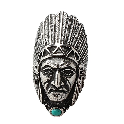 PAURO Men's Stainless Steel Vintage Tribal Native American Indian Chief Ring with Turquoise Stone Size (Indian Chief Headdress For Sale)