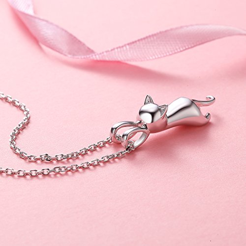 Fine Jewelry Charm Necklace for Girls Sterling Silver Simple Minimalist Cat Pendant, 18'' by SILVERCUTE (Image #5)