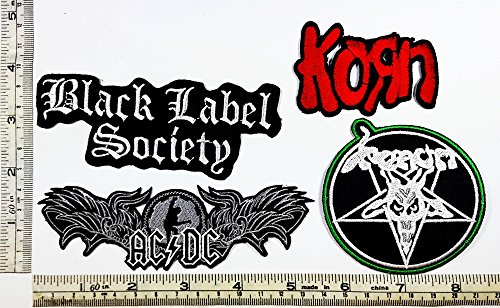 Set Rock music 150 BLS Black Label Society Korn Ac Dc Venom Heavy Metal Music Punk Band Logo Embroidered Iron on Hat Hoodie Backpack Ideal for Birthday Gift - Venom Costume Diy