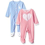 Carter's Baby Girls' 2-Pack Cotton Sleep and Play, Heart/Kitty, Newborn