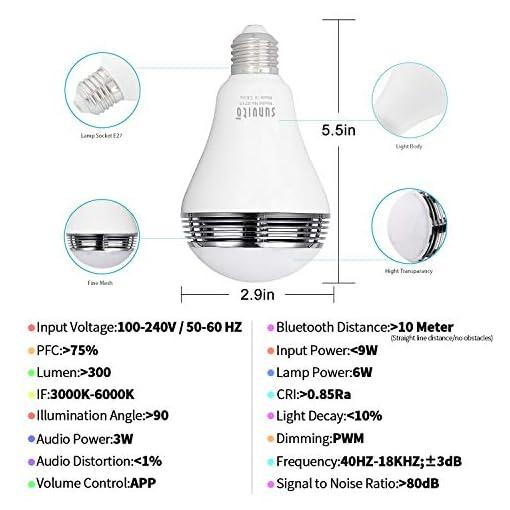 LED Lampadina Altoparlante Bluetooth 4.0 Smart Musica, Sunvito Wireless Colorata RGB White E27 Dimmerabile per Feste e party APP gratis per smartphone iOS e Android (iLight can search from APP store)