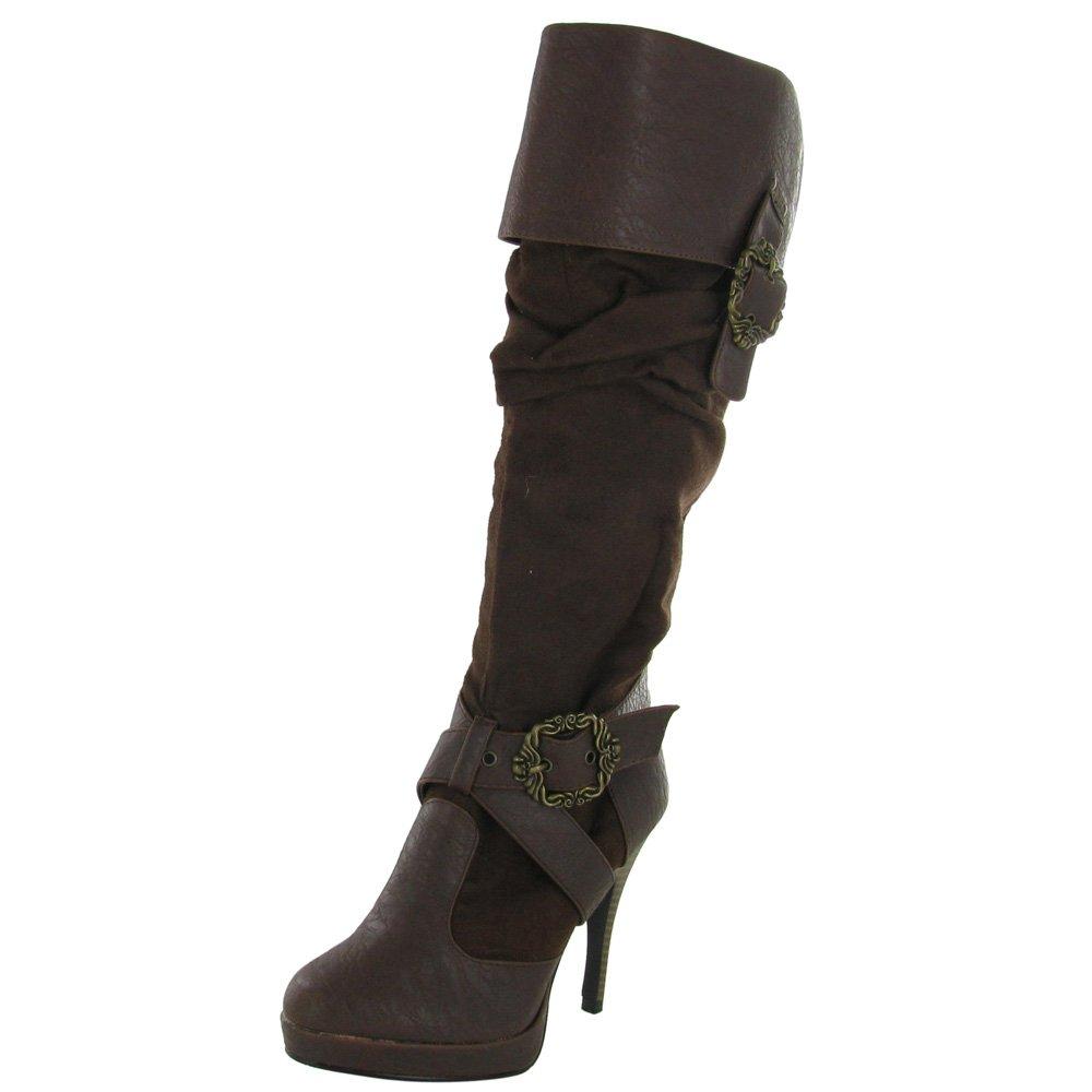 Women's Caribbean Distressed Dark Brown Knee-High Pirate Boot - DeluxeAdultCostumes.com