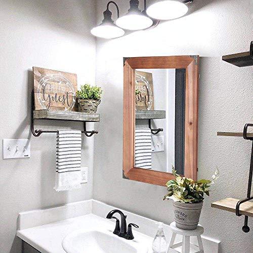 Details About Farmhouse Mirror Industrial Rustic Wood Vintage Style Bathroom Vanity Brown New