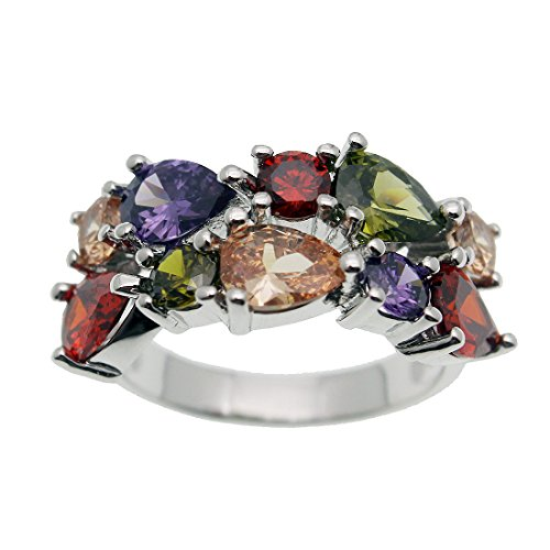 Gemstones Sets 925 Sterling Silver Peridot Amethyst Garnet Morganite (Ring Size 6#) -