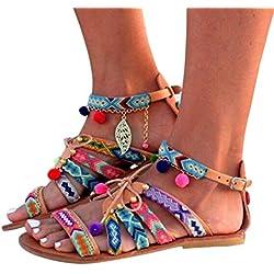 Cute Women Bohemia Sandals Leather Sandals Flats Shoes Pom-Pom Sandals Adjustable (US:8, Multicolor)