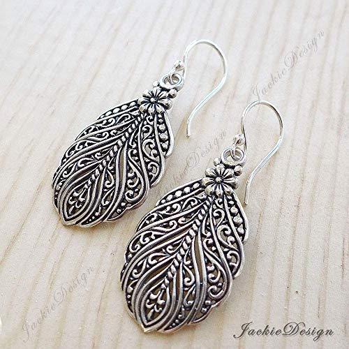 - Peacock Feather Bali Sterling Silver Earrings JD165