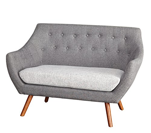 Target Marketing Systems Elijah Collection Mid Century Modern Button Tufted Upholstered Living Room Loveseat, Gray/Light Gray