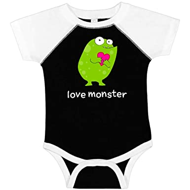 988137c0976 inktastic - Love Monster Green Infant Creeper Newborn Black and White 27992