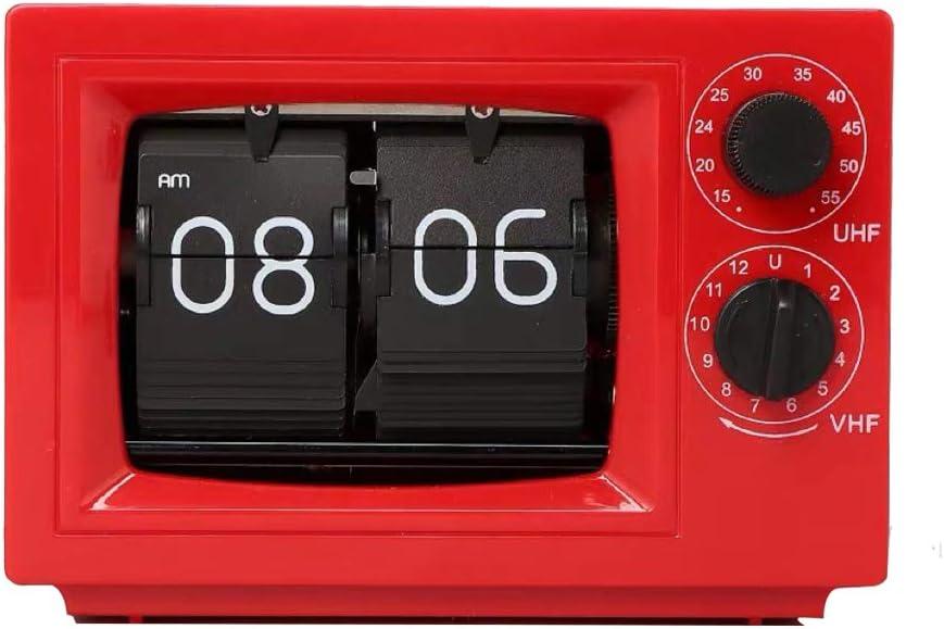 TV, Tapa De Un Reloj De Época, con Pilas De Televisión Digital Apariencia Reloj De Escritorio para El Hogar, Oficina, Sala De Estar Decoración, Rojo Retro: Amazon.es: Hogar