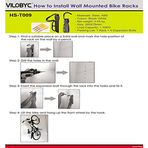 2PCS Bike Rack Garage Wall Mount Bike Hanger Storage System Vertical Bike Hook for Indoor Shed Easily Hang/Detach Heavy Duty Holds up to 65 lb with Screws Black by VILOBYC (Image #6)