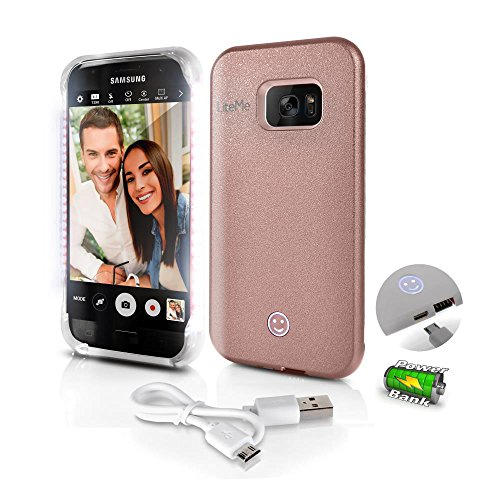 Samsung Galaxy S7 Phone Case - Lite-Me Selfie Lighted Smart Mobile Case with Built-in Power Bank, LED Lights - Heavy Duty Cellphone Protection Cover for Men/Women - SereneLife SL301S7RG (Rose Gold)