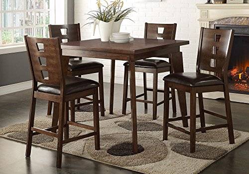 1PerfectChoice 5 pcs Counter Height Dining Set Square Table Dark Brown PU Chair Dark Walnut