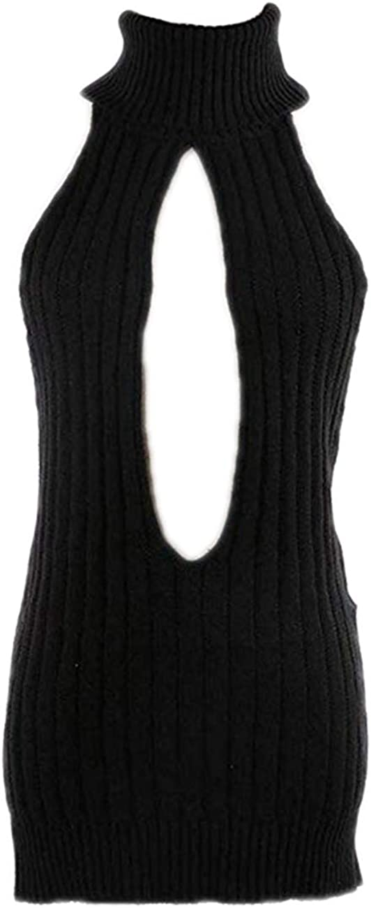Paloli Women's Knit Backless Virgin Killer Sweater