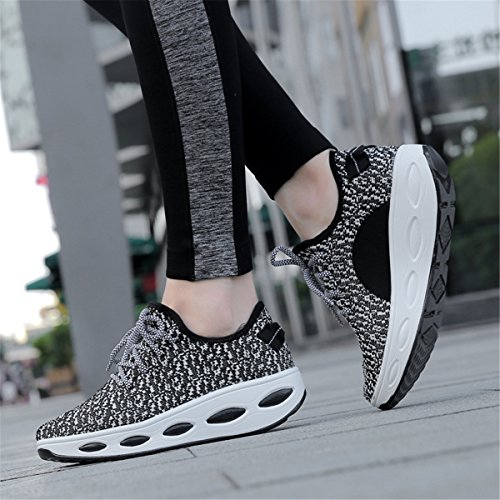 Rocking Lightweight Mesh Breathable Walking Sport Beeagle Sneakers Black Wedges Shoes Womens Running Platform Knitted twYYq80zx