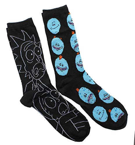 Rick And Morty 2 Pack Casual Crew Socks (Adult, Rm3), shoe 6-12 ()