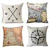 #9: Geography Theme Throw Pillow Covers - Wonder4 Home Decorative Map Art Throw Pillow Cases Couch Covers Decoration,2X Maps +1x Compass + 1x Navigation Compass 18 X 18 Inch for Home Sofa Bedding Set of 4