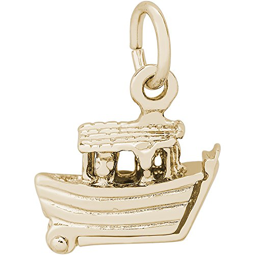 Rembrandt Charms 14K Yellow Gold Noahs Ark Charm on a 14K Yellow Gold Rope Chain Necklace, 20