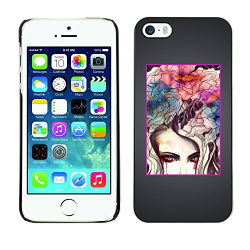 Soft Silicone Rubber Case Hard Cover Protective Accessory Compatible with Apple iPhone? 5 & 5S - painting grey flowers metal minimalist