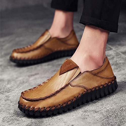 Zapatos a Mano para Hombres de Caqui Hechos Zapatos Cuero Casuales 0qXZq6